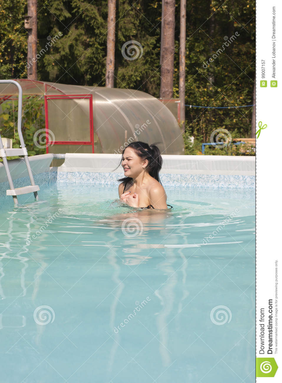 Nude girls by pool