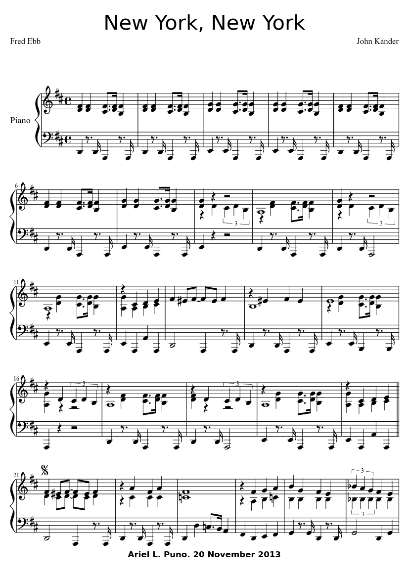 Escape from new york sheet music
