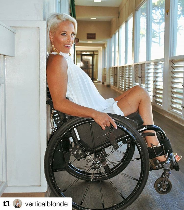 Disabled sexy girl on crutches