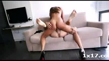 Girl in reverse missionary position