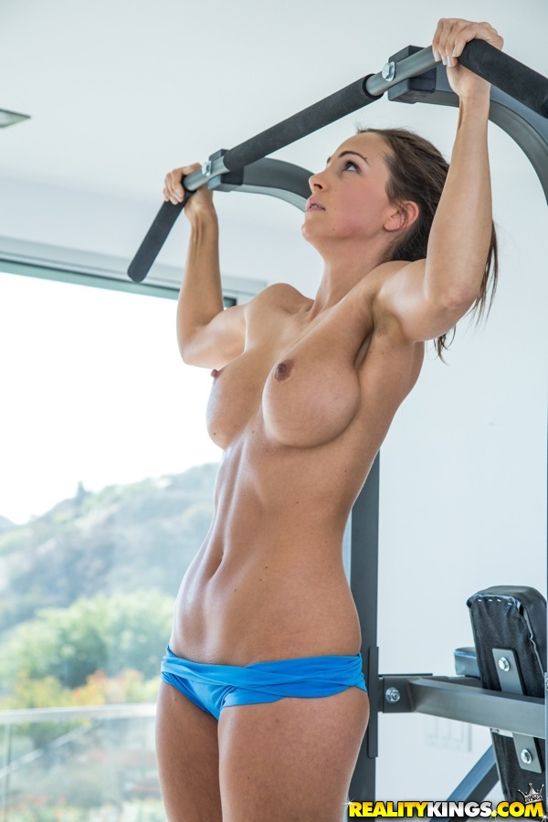Naked babes with big tits working out